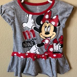 Disney Baby Minnie Mouse Shirt w/Ruffle Hem Top